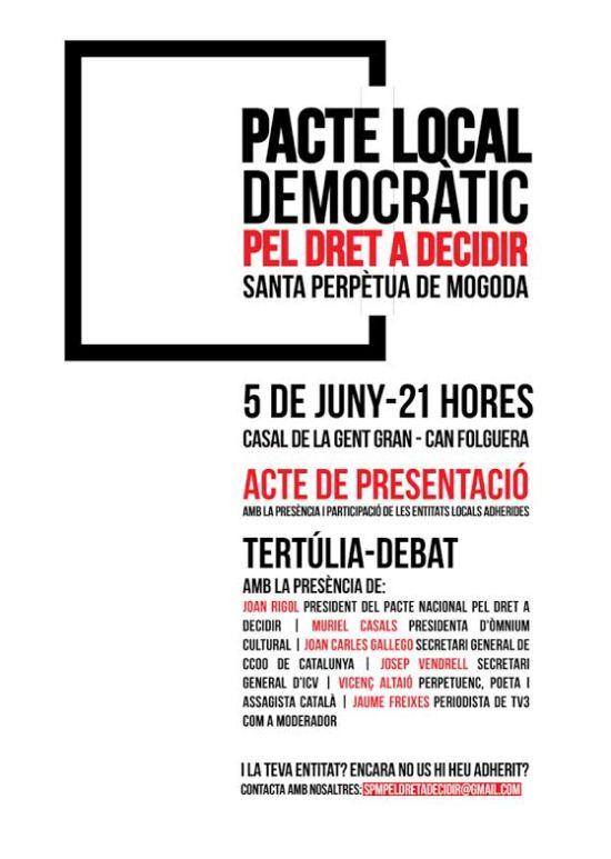 Cartell Acte Presentació Pacte Local Pel Dret a Decidir SPM - 5 de juny 21 h